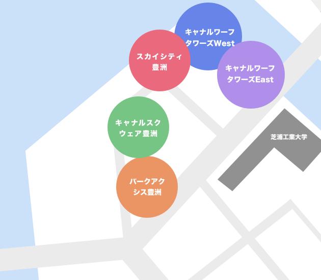 豊洲1丁目のタワーマンションマップ