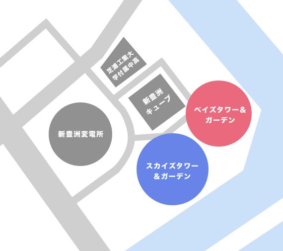 新豊洲(豊洲6丁目)に有るタワーマンション一覧マップ