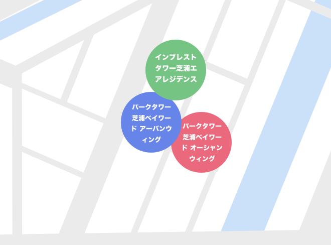 芝浦2丁目のタワーマンションマップ
