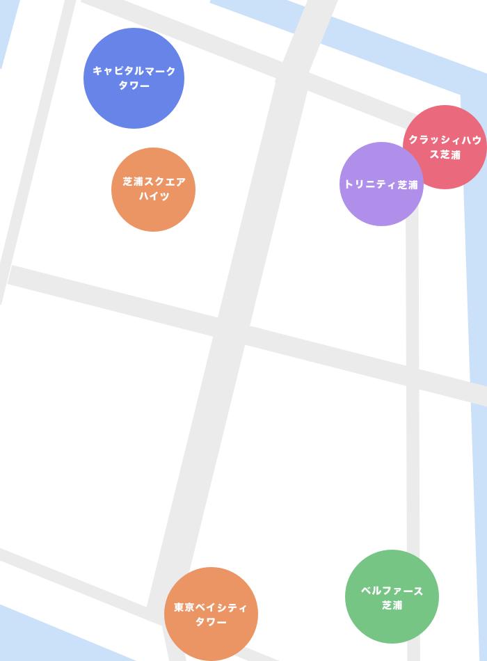 芝浦4丁目のタワーマンション一覧マップ