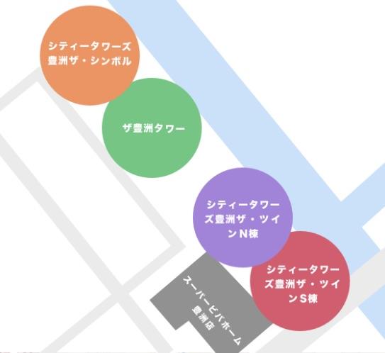 豊洲3丁目のタワーマンション一覧マップ