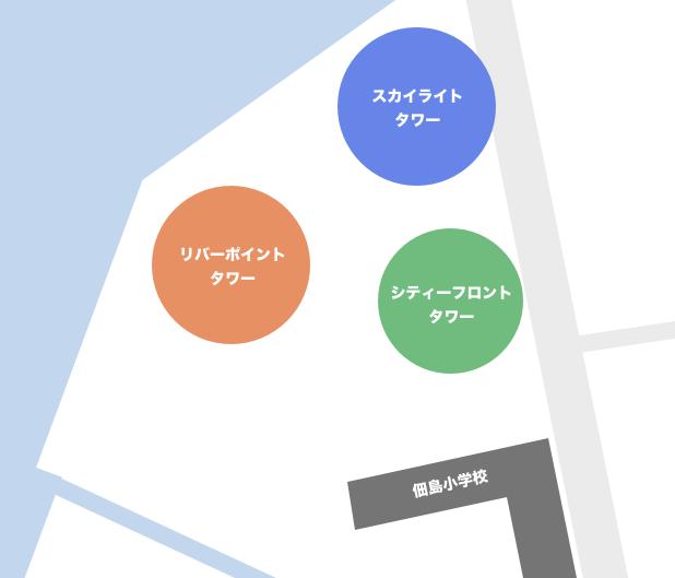 佃にあるタワーマンション一覧マップ