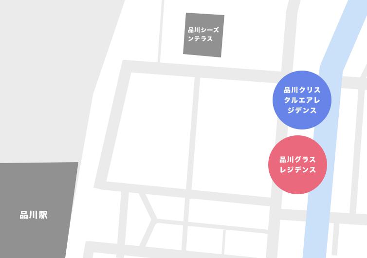 品川(港区港南)エリアにあるタワーマンション一覧マップ