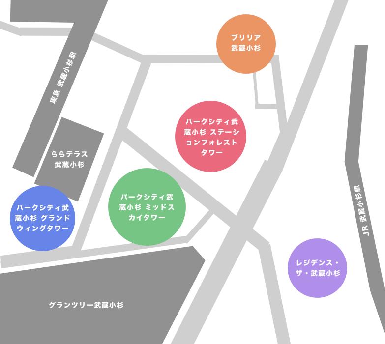 武蔵小杉の全タワーマンション一覧を見やすいマップと写真で紹介